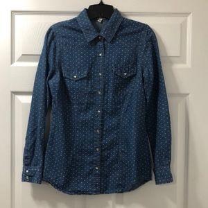 Daniel Rainn Soft Denim Polka Dot Shirt- Md